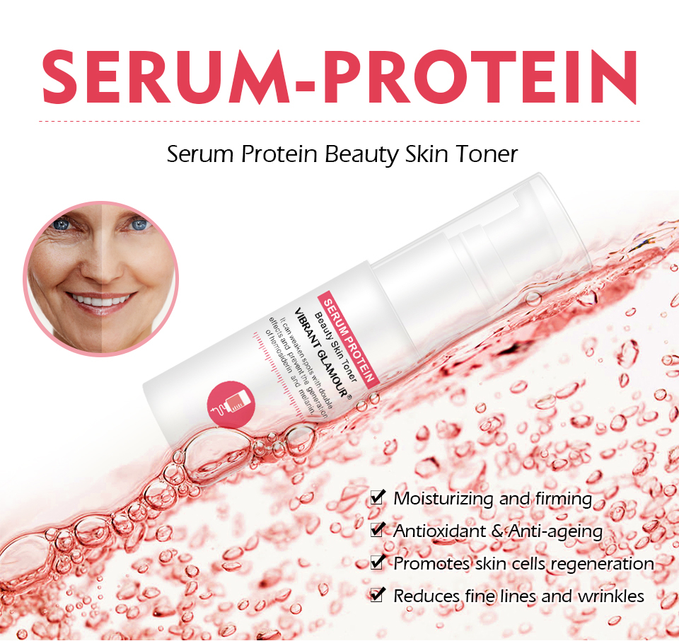 VIBRANT GLAMOUR Serum Protein Repair Face Cream Facial Toner Eye Cream Anti-Wrinkle Moisturizing Against Puffiness Skin Care Set