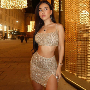Image 2 - Thereadict Sexy Glitter Pearls Two Piece Set Crop Top And Skirt Side Split Backless 2 Piece Set Women Outfits Matching Set 2020