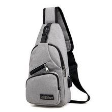 Męskie torby na ramię torba typu Crossbody z portem USB wielofunkcyjne płótno kradzież torba na klatkę piersiową krótka wycieczka posłańcy torba 2020 nowość