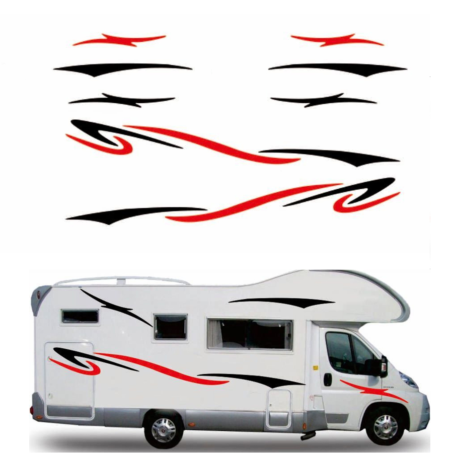 Two side RV Stripes Graphics Decals Car Stickers Vinyl Graphics for Caravan Travel Trailer Camper Van(China)