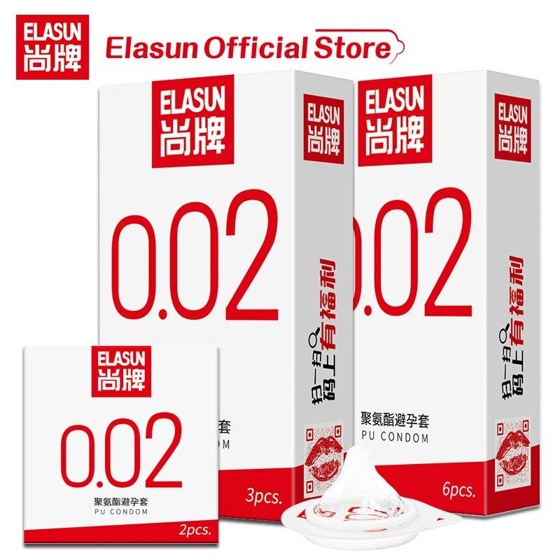 ELASUN 0,02 мм Невидимый Ультратонкий презерватив 002 презервативы со смазкой для мужчин полиуретановый не латексный сексуальный пенис презерва...