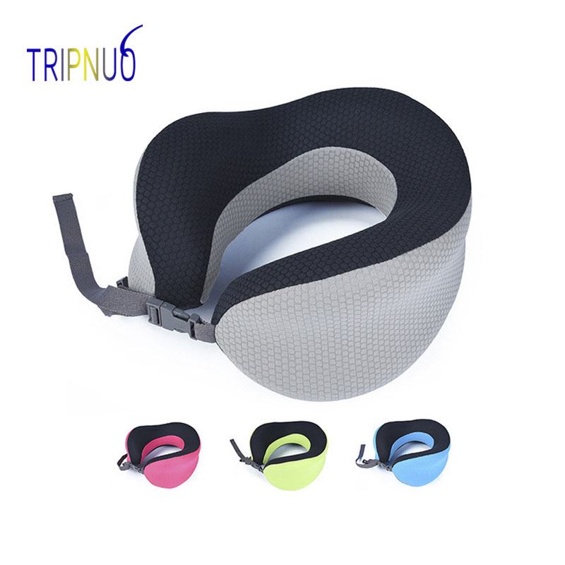 U Shaped Memory Foam Neck Pillows Travel Cervical Pillow Soft Slow Rebound Space Pillow Solid Neck Cervical Travel Accessories