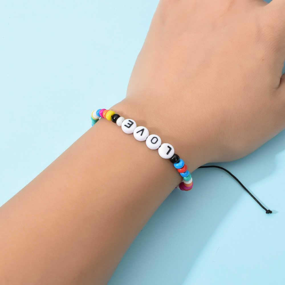 Boho ผู้หญิง 12 ชิ้น/เซ็ต Letter Love Letter ไม้ลูกปัด Charms สร้อยข้อมือปรับเชือกอะคริลิค Handmade สายรัดข้อมือเครื่องประดับ