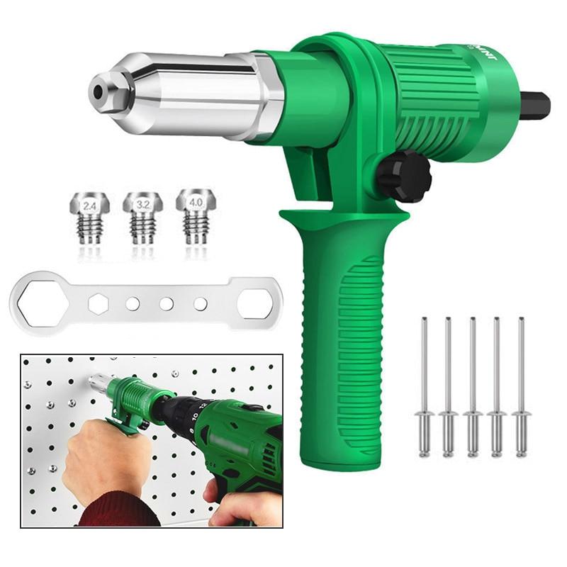 Electric Rivet Gun Adapter Electric Drill Blind Rivet Gun Head 2.4mm-4.8mm Industrial  Handheld Pull Rivet Nut Tool 1