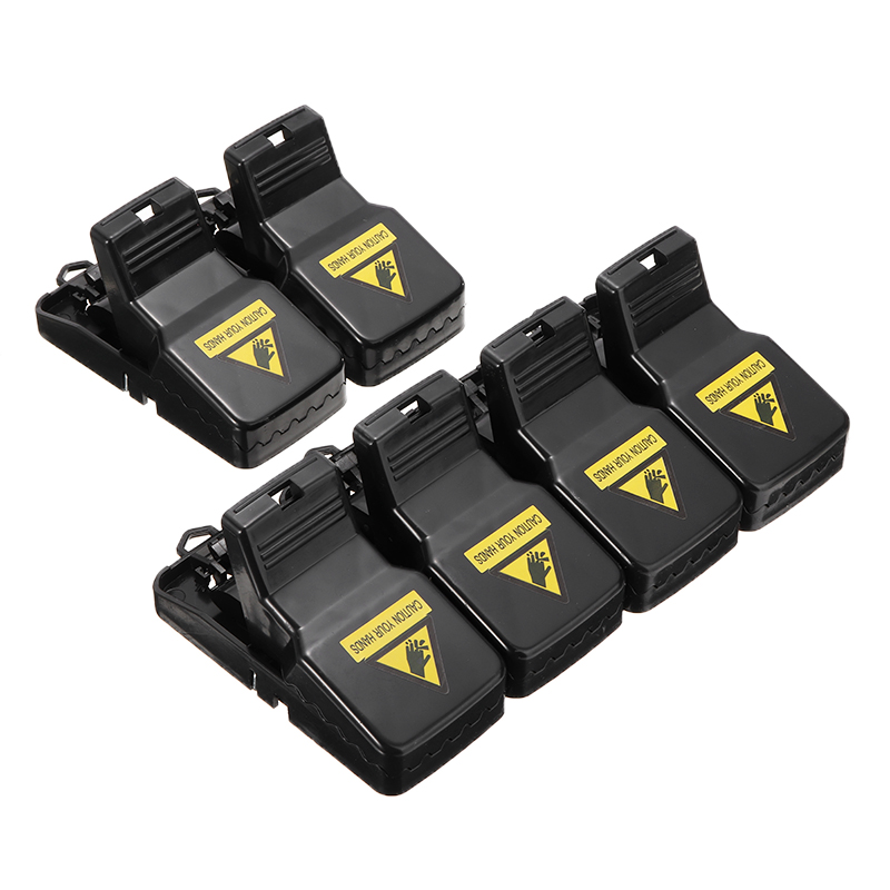 6Pcs/set Black Plastic Mouse Traps Rodent Snap Trap Bait Rat Trap Catcher Mouse Busters Reusable For Home Garden Pest Control image