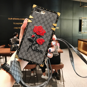 Image 4 - Luxury Square Embroidery Rose Phone Cases For Xiaomi Mi 10 Redmi 7 7A 8 8A 9 10x K20 Redmi Note 7 8 9 9T 9s PRO PU Leather Cover