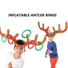 Toy Hat Inflatable 8/12x-Rings-Kit Christmas-Throwing-Toys Kids Reindeer PVC with Headband