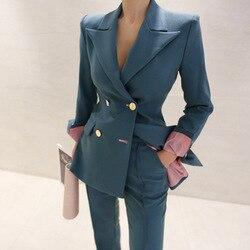 Hoge kwaliteit vrouwen suits broek pak 2019 nieuwe herfst slim double-breasted dames jas blazer Casual broek Twee stuk set
