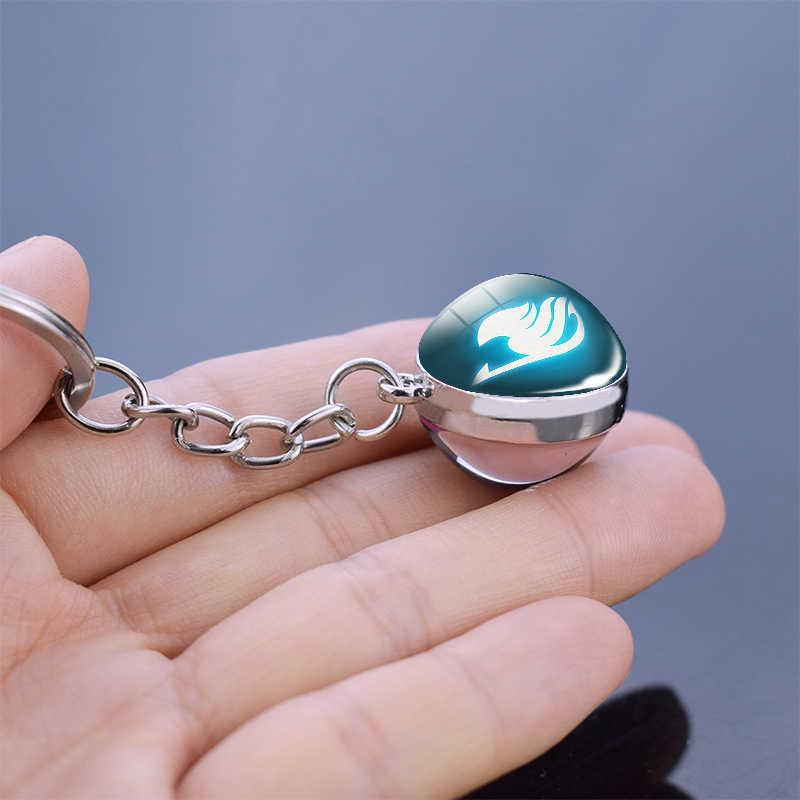 Fée queue guilde Logo boule de cristal porte-clés Double face boule de verre Cabochon bijoux Anime pendentif cadeaux pour amoureux Cosplay