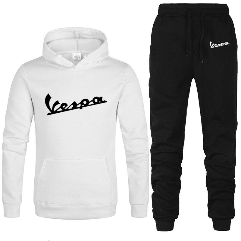 New Winter Tracksuits Men Set Thicken Vespa Print Hoodies+Pants Suit Spring Sweatshirt Sportswear Set Male Hoodie Sporting Suit