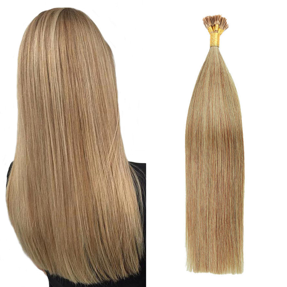 Gazfairy 18 Inch 1g/strand 50g I Tip Human Hair Extensions Fusion Keratin Bond Natural Color Straight Style Remy Pre Bonded Hair