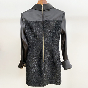 Image 4 - HIGH QUALITY New Fashion 2020 Runway Designer Dress Womens Long Sleeve Lion Metal Buttons Tweed Patchwork Dress