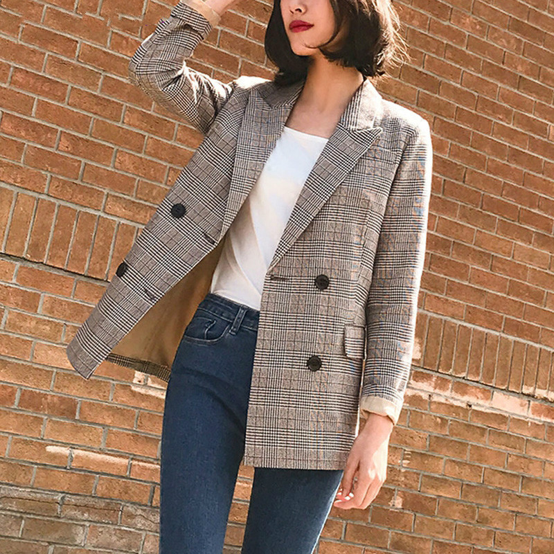 Women Vintage Blazers and Jackets Female Retro Double Breasted Plaid Suits Coat Korean Style Office Ladies Blazers Outwears