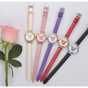 Image 5 - Women Lovely Pretty Smart Minnie Cuties Watch Girl Beautiful Pink Leather Strap Quartz Clock Gift Luxury Crystal Youth Lady Time