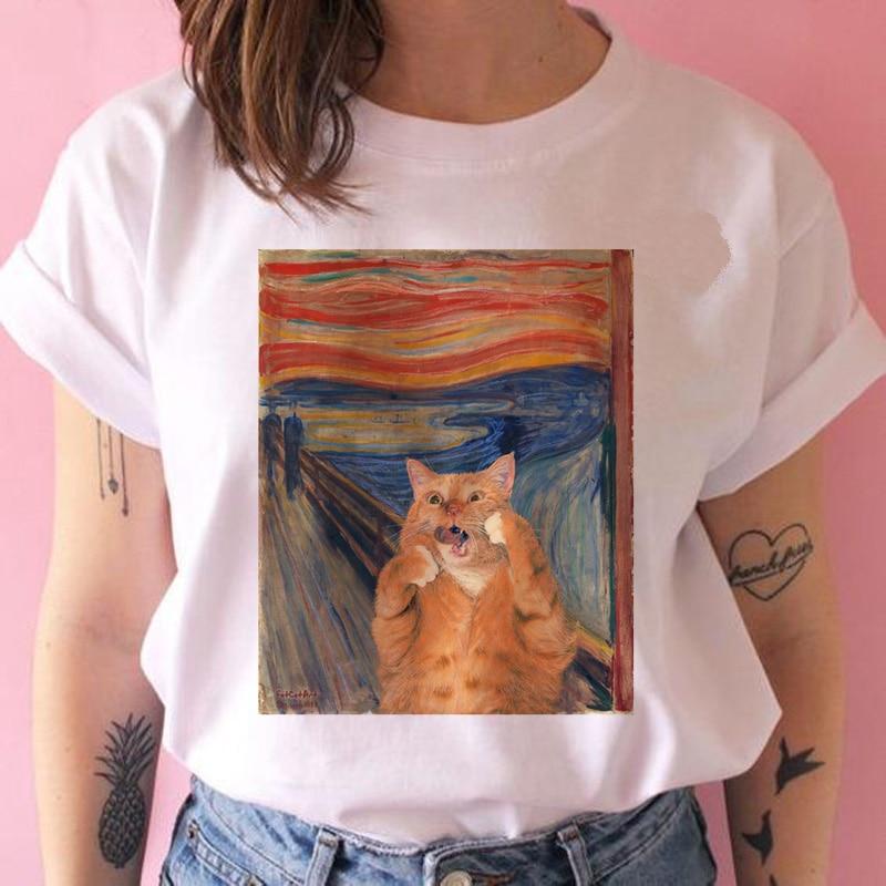 cat van gogh harajuku   t     shirt   funny ulzzang art clothes tshirt 90s summer   t  -  shirt   short sleeve cartoon Casual
