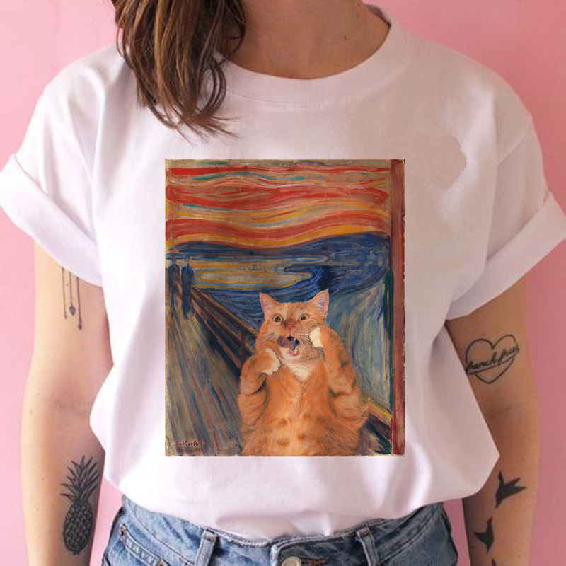Cat Van Gogh Harajuku T Shirt Funny Ulzzang Art Clothes Tshirt 90s Summer T-shirt Short Sleeve Cartoon Casual