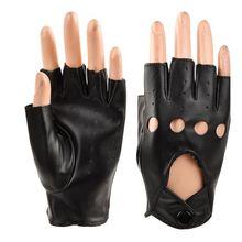 Горячая Распродажа, детские кожаные перчатки для мальчиков, перчатки без пальцев для девочек, детские рукавицы с полупальцами, дышащие черные перчатки