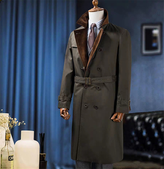 Men's Winter Warm Coat Solid Fur Collar Double-Breasted V-Sleeve Long British Style Overcoat Casual Fashion Handsome Jacket Men Men Casual Jackets Men Parka Jackets Outwear & Jackets Color: PIC Size: M