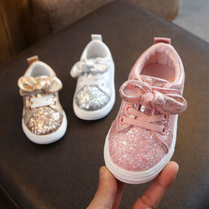 2019 Children Four Season Shoes 1-3 Years Toddler Baby Girls Bow Sequin Crib Shoe Trend Casual Shoes Glitter Bowknot Dress Shoes