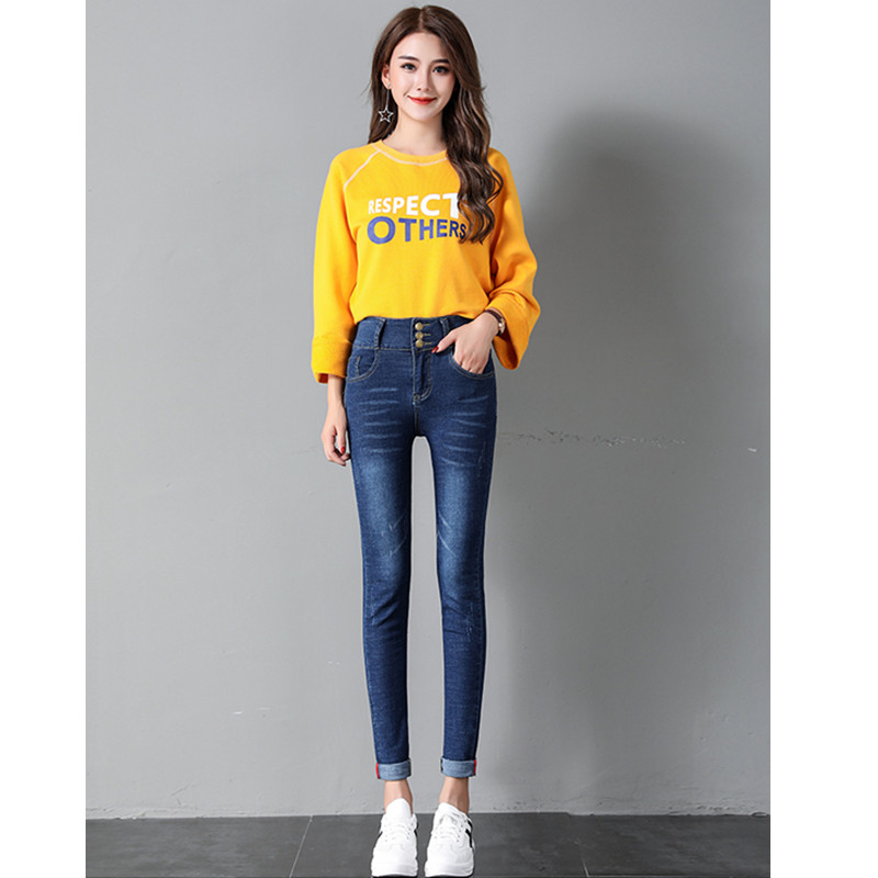JUJULAND Jeans For Women Jeans High Waist Jeans Woman High Elastic  Stretch Jeans Female Washed Denim Skinny Pencil Pants 8110