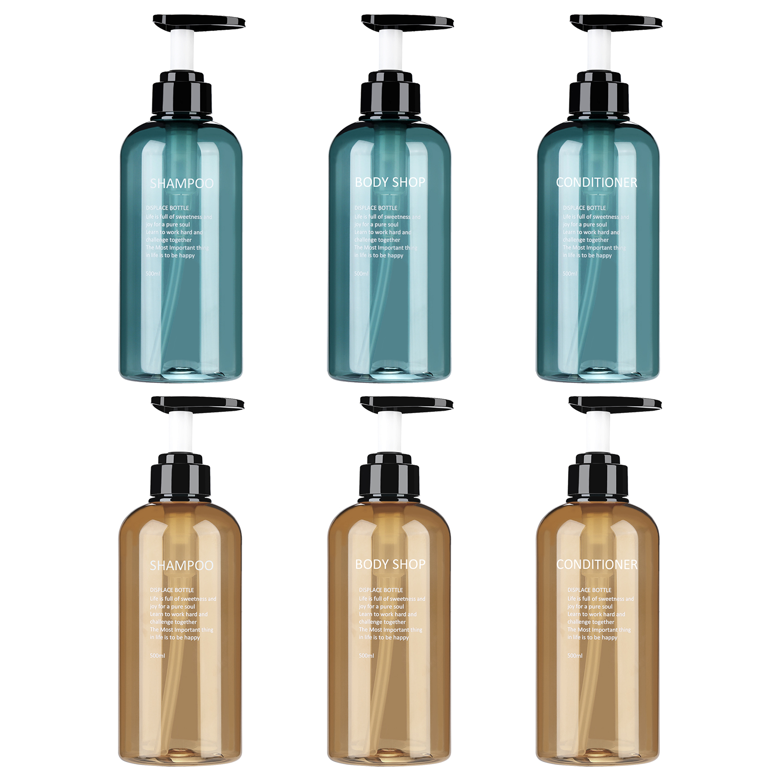 500ml Liquid Soap Dispensers With Pump For Essential Oils Homemade Lotions Round Amber Glass Bottles