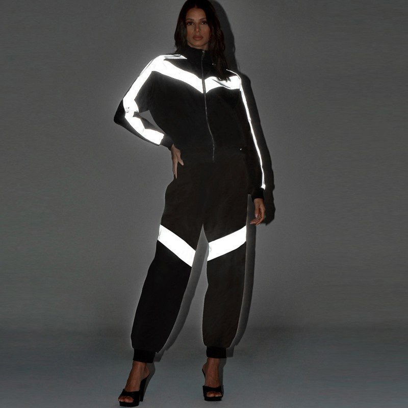 Reflective Set Tracksuit Patchwork Black Satin Two Piece Set Top And Pants Fall Winter Outfits 2 Piece Outfit For Women Matching
