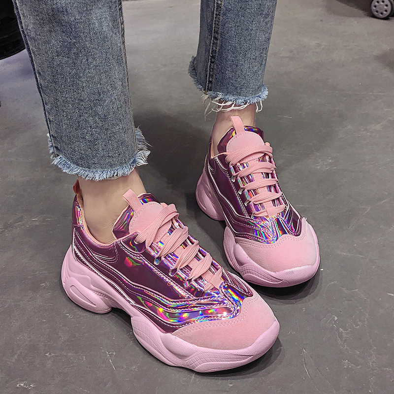 Rimocy 2019 Autumn New Chunky Laser Sneakers Women Glitter Gold Silver Platform Shoes Woman Casual Footwear Zapatos De Mujer