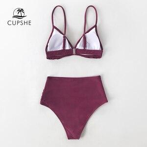 Image 5 - CUPSHE katı bordo Ruffled yüksek belli Bikini setleri seksi yastıklı mayo İki adet mayo kadınlar 2020 plaj mayo