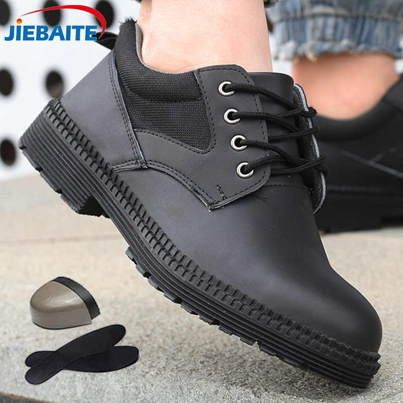 Men Safety Work Shoes Construction Shoes Steel Toe Work Boots Comfortable Indestructible Leather Shoes Puncture Proof