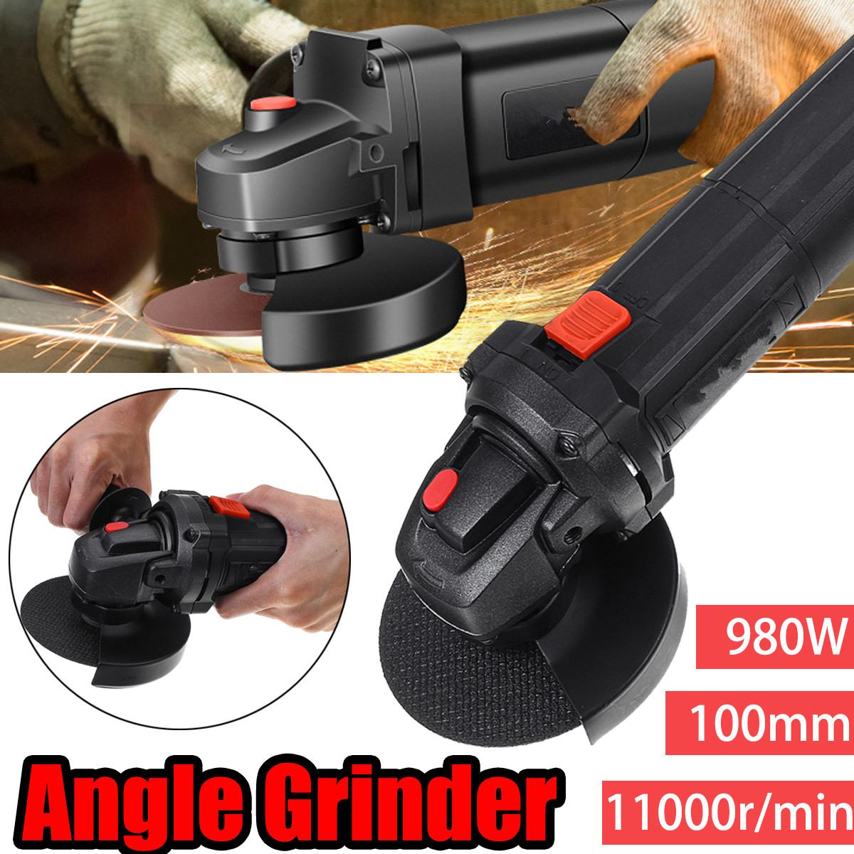220V 980W Multifunction Angle Grinder Eectric Angle Grinding Metal Wood Cutting And Grinding Machine 11000RPM Woodworking Tools