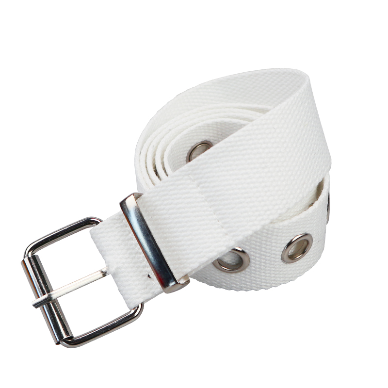 Длинные личности Harajuku кольцо в стиле casual черного цвета с металлическим ремнем и студентов из парусиновой джинсовой ткани талии Ремни прилив серебряной пряжкой - Цвет: White