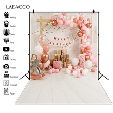 Laeacco White Wooden Floor Baby Birthday Party Decor Photography Backdrops Balloons Toys Baby Portrait Background Photo Studio