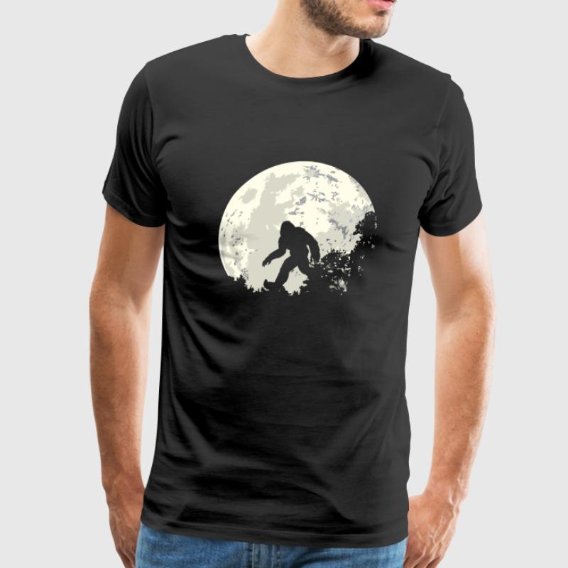 100% Cotton O-neck Custom Printed Men T shirt Bigfoot Sasquatch Moon Women T-Shirt