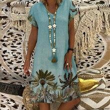 Vintage, las mujeres vestido elegante con cuello en V de manga corta vestido, vestidos de verano de talla grande 5Xl playa Sexy fiesta vestido de mujer
