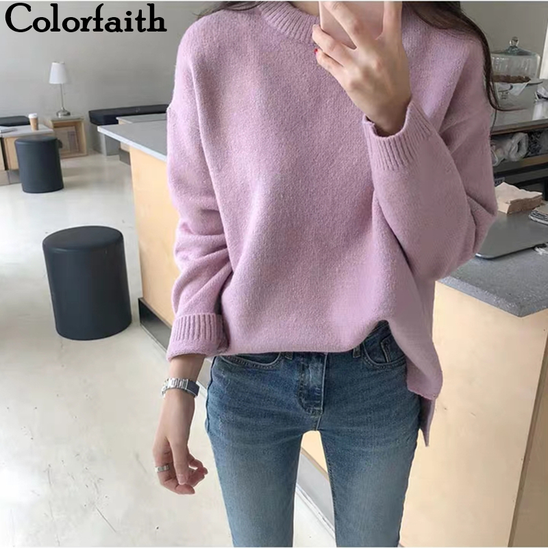 Colorfaith New 2019 Autumn Winter Women's Sweaters Casual Minimalist Tops Fashionable Korean Style Knitting Loose Ladies SW9170