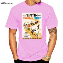Tintin – t-shirt unisexe avec Les Oranges Bleues, affiche de film rétro des années 1960