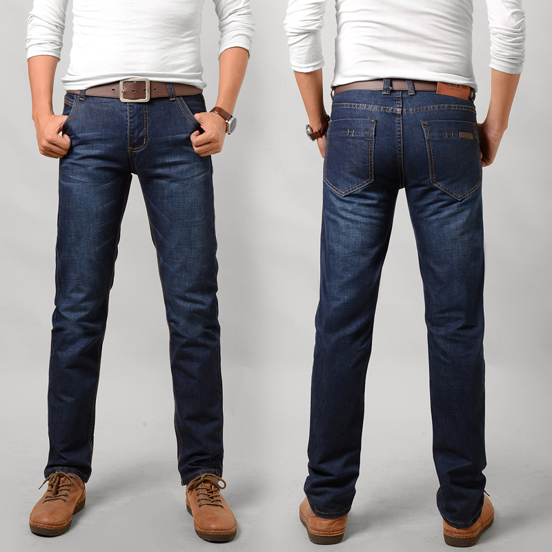 Network Hot Selling 8018 Jeans Men's Business Youth Slim Fit Straight-Cut Long Pants Chao Fa Agent