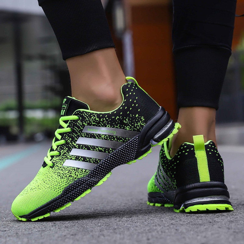 Image 2 - Big Size Green Breathable Cheap Running Shoes Men Flyknit Red Outdoor Marathon Sneakers Lightweight Keep Running Men Sport ShoesRunning Shoes   -