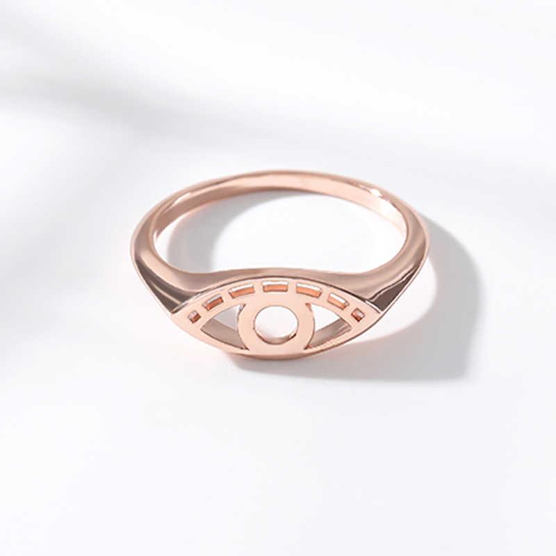 Hollows Evil Eye แหวน Femme Silver Hamsa แหวนผู้หญิงผู้ชายวันเกิดของขวัญสแตนเลส Mujer Bijoux 2019