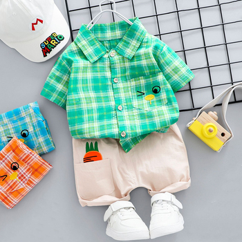 2020 Girls Clothes Sets 2Pcs Summer HomeStreet Wear Toddler Boys Casual Plaid T Shirt Shorts Pants For 1 2 3 4 5 Years Kids image
