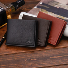 Hot Men Solid Color Vintage Open Lichee Pattern Multi Card Position Wallet Men F