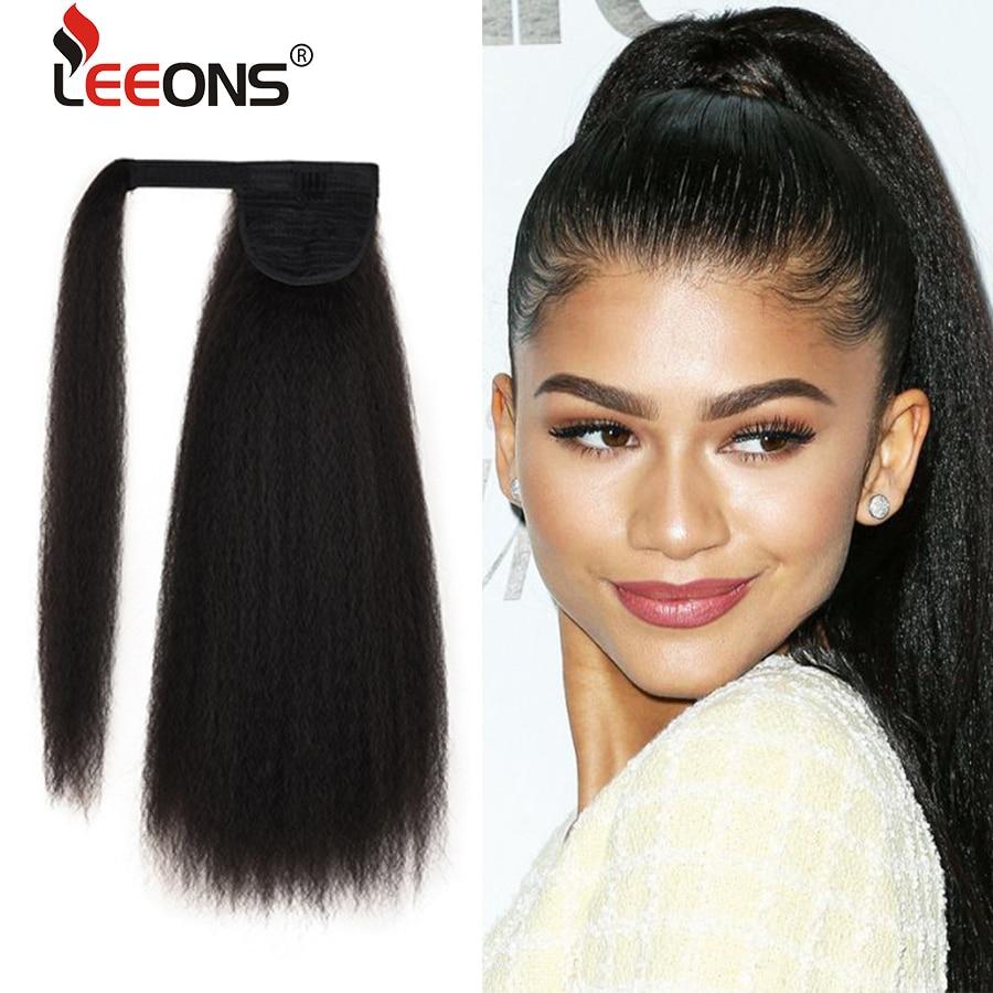 Leeons-Extensión de cabello sintético para mujer, coleta larga rizada, con Clip en la cola de caballo, pelo falso Rubio, marrón y negro