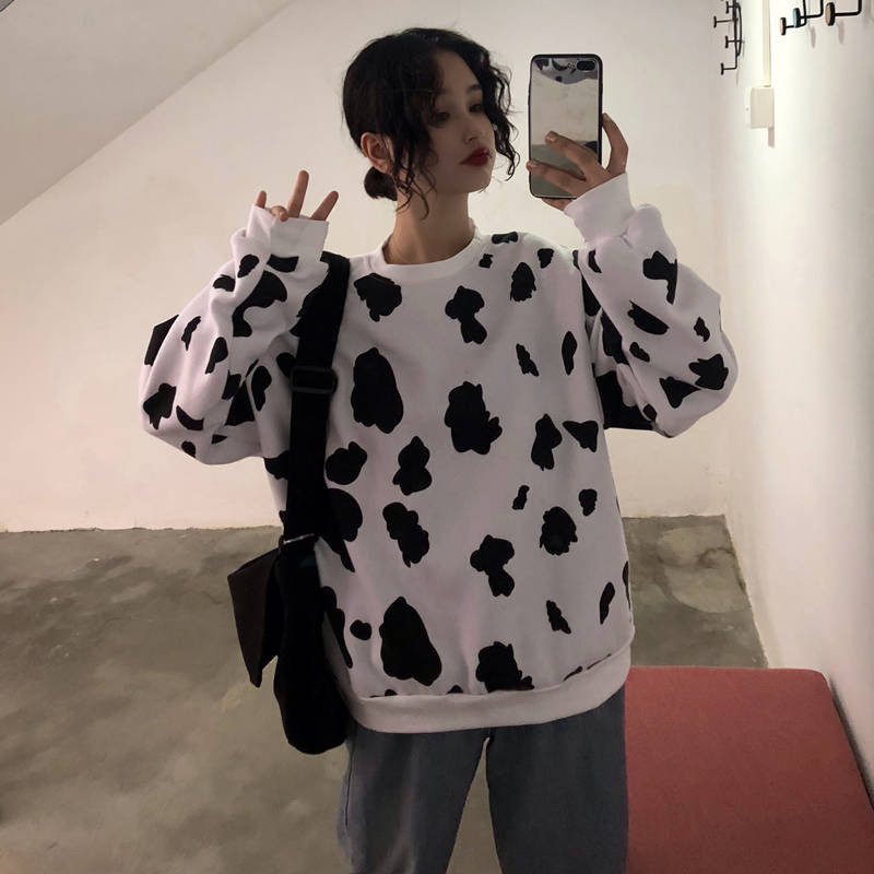Cute Autumn Cow Milk Printed Girls Pullover Women Sweatshirt Female Fashion Loose Hoodie Sweatshirts O-neck Hoodie Females