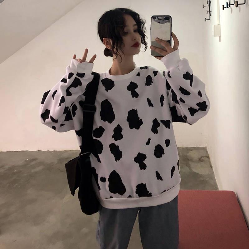 Cute Autumn Cow Milk Printed Girls Pullover Women Sweatshirt Female Fashion Loose Hoodie Sweatshirts O-neck Hoodie Females