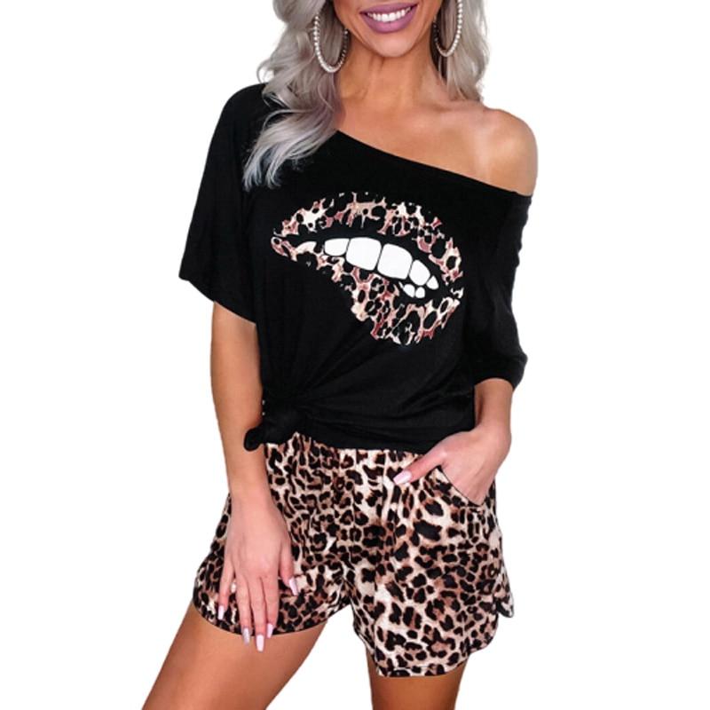 Women Summer Leopard Lips Printed Black Short Sleeve Tops And Shorts Femme Plus Size S-3XL Casual Two PCS Set Sportswear SJ5927M