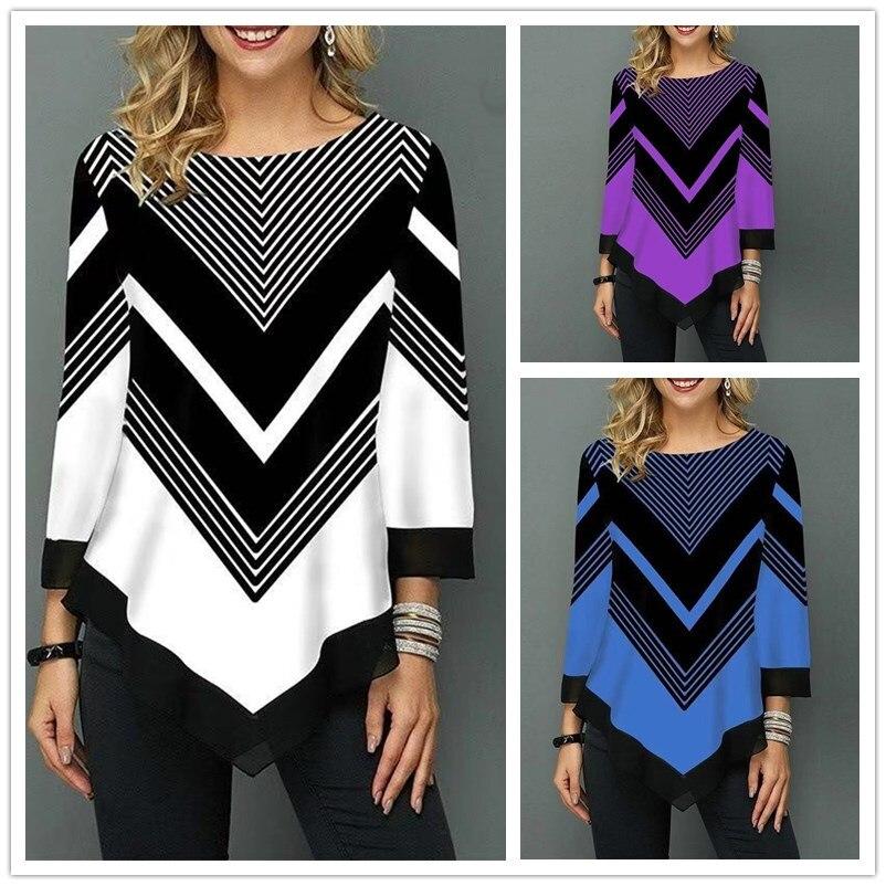 Женская одежда больших размеров S-5XL, пуловеры, топы, футболки, весна-осень, женская футболка с цветочным принтом, Повседневная футболка с кру...