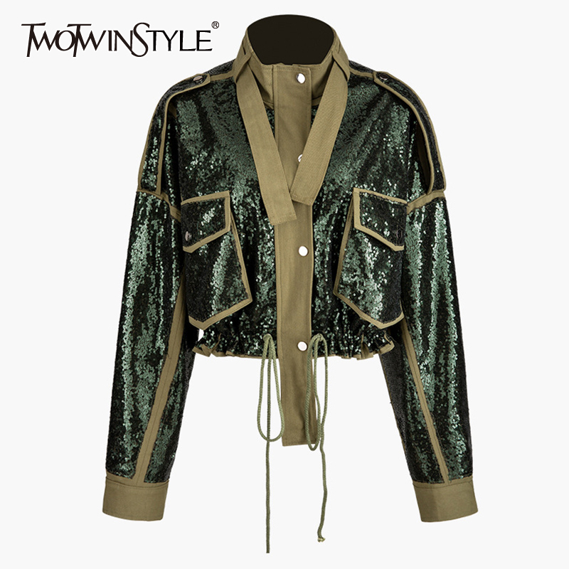 TWOTWINSTYLE Patchwork Sequins Lace Up Women's Coats Turtleneck Long Sleeve Hit Color Jacket For Female Fashion Clothes 2020 New