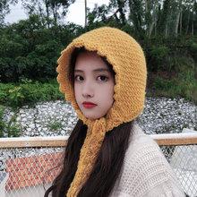 Шерстяная шляпа женская осенняя и зимняя от Lei Feng(Лея фенг), теплая шапка в Корейском стиле милые и удобные зимние закрывающие уши голова вязаная шапка