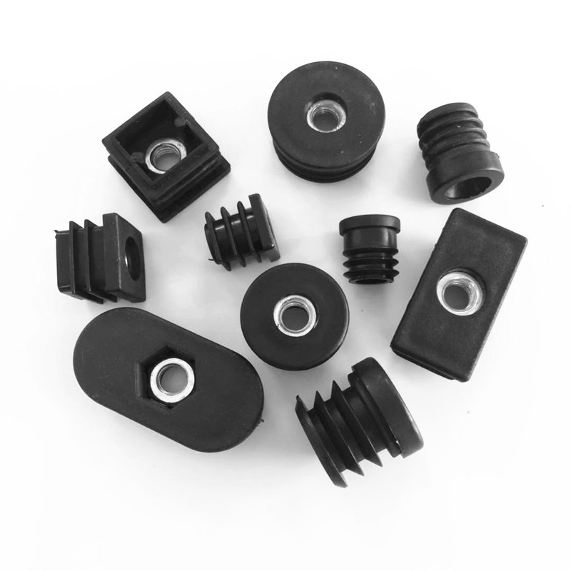 10pcs M8 Plastic Furniture Leg Pipe Hole Plugs With Nut Black Blanking End Cover Chair Leg Caps Protector Furniture Accessories