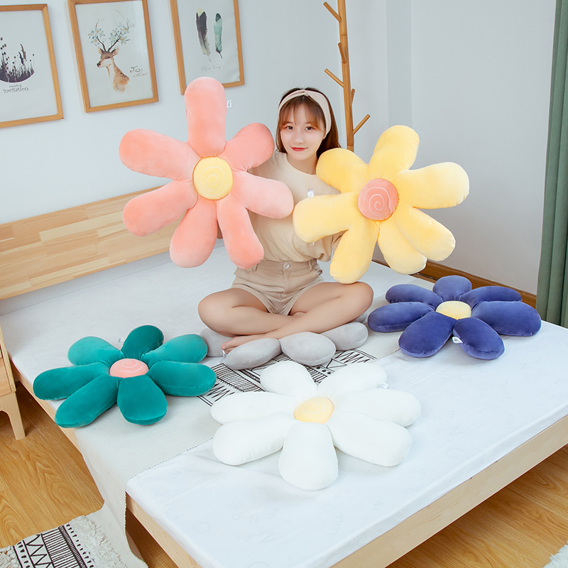 INS Hot Daisy Flower Plush Pillow Cushion Sun Flower Stuffed Plush Toys Pet Play Sleep Mat Home Decor Girl Christmas Gift